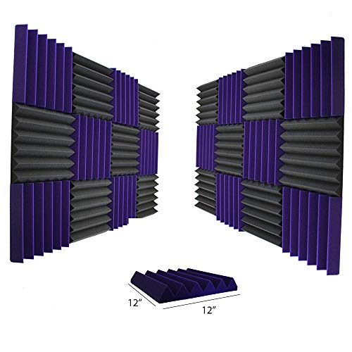 24 Pk 2x12x12 Char/Purple Soundproofing Foam Wedge Acoustic Wall Panels Tiles Studio Foam Sound Proof Padding Wedge Sound Dampening Foam Top Quality Ideal for Home & Studio Absorption Sound Insulation