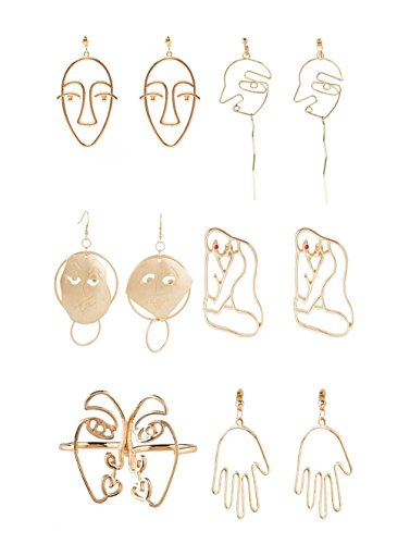 Ainiya Face Earring Set 6 Pair Gold Tone Earrings For Girls Teens Women Earrings Including Hollow Face Hand Shape Gold Statement Earrings (Set Earring Drop Heart)
