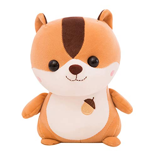 Binory Lovely Soft Squirrel Animal Doll Stuffed Plush Toy,Home Party Wedding Gift,Soft Realistic Plush Knitted Toy for Babies Children or Adults,Birthday Party Decoration Gift Bedtime Toys(Yellow)