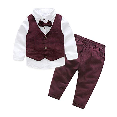 (Baby Little Boys' Dressy 3 Pieces Cotton Shirt Tweed Vest Clothes Set Maroon)