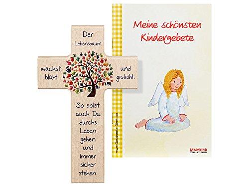 Croce in legno per bambini: con 'L'albero della vita' da 15cm MaMeMi