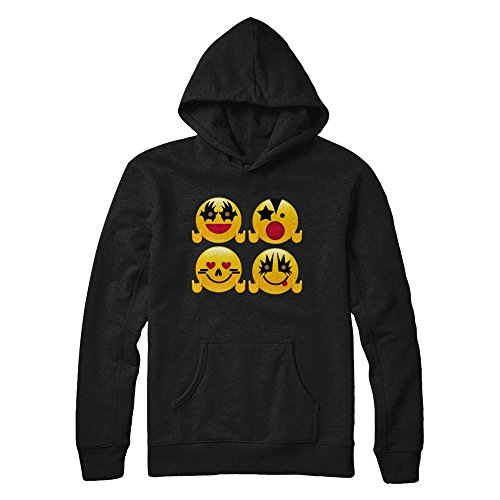 Teely Shop Men's Woman's Funny Emoji Rock 2017 Costume Gildan - Pullover Hoodie/Black/XL -