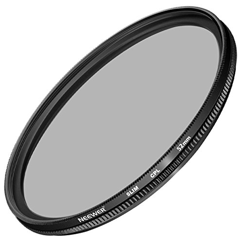 Neewer 52MM Ultra Slim CPL Filter Circular Polarizer Lens Filter for Nikon D3300 D3200 D3100 D3000 D5300 D5200 D5100 D5000 D7000 D7100 DSLR Camera, Made of HD Optical Glass and Aluminum Alloy Frame by Neewer