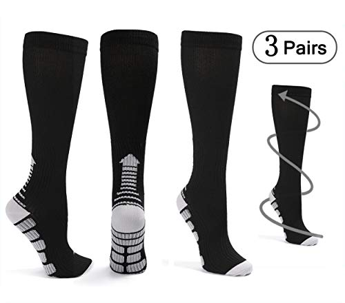 Knee High Compression Socks for Women Men 20-30 mmHg (3 Pairs), Best Graduated Copper-Infused Stockings for Flight Travel, Athletic, Nurse,Pregnancy,Recovery,Crossfit (Black-L/XL)