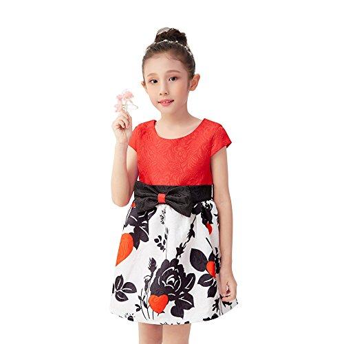 ess Kids Girls Occasion Dress Size 8 Summer Clothes for Girls Tutu Dress Children Dress for Wedding 8-9 (Red,8) ()