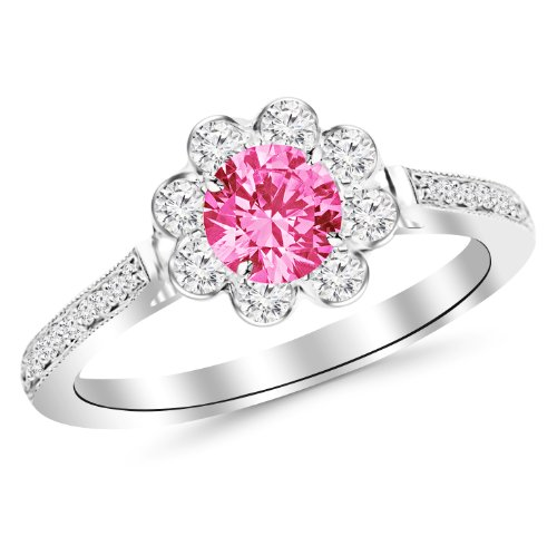 14K White Gold Prong Set Halo Floral Design Diamond Engagement Ring with Milgrain with a 0.75 Carat Pink Sapphire Heirloom Quality Center