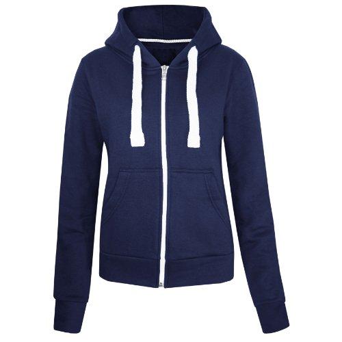 Fashion Wardrobe Womens Plain Hoodie Ladies Hooded Zip Zipper Top Sweat Shirt Jacket Coat Sweater