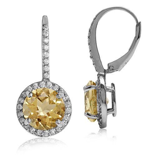 Round Shape White Gold Plated 925 Sterling Silver Halo Leverback Earrings … (Citrine) ()