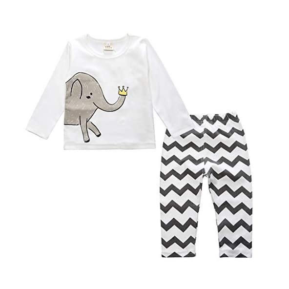 Baby Boy Outfits Set 2pcs – Baby Girl Clothing Sets Cartoon Elephant T Shirt Striped Pants 12 Months