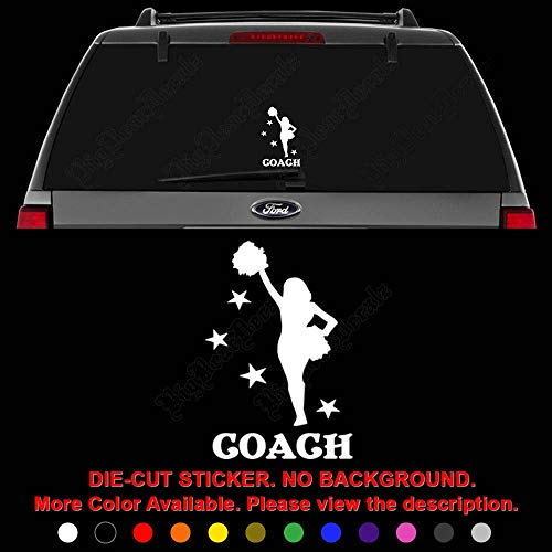 (Cheer Coach Cheerleading Die Cut Vinyl Decal Sticker for Car Truck Motorcycle Vehicle Window Bumper Wall Decor Laptop Helmet Size- [8 inch] / [20 cm] Tall || Color- Gloss Black )