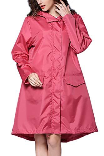 Yacun Veste La Pluie Poncho Manteaux Impermable Plein Air tanches  des Femmes Capuche Rose