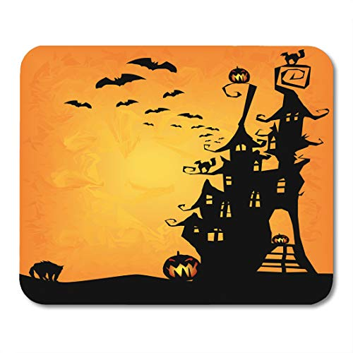 Emvency Mouse Pads House Halloween Spooky Castle Cats and Pumpkins Cute Haunted Clouds Mouse pad 9.5