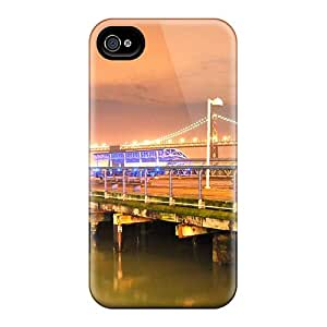 Premium Oakl Bay Bridge From A Pier In Frisco Back Cover Snap On Case For Iphone 4/4s