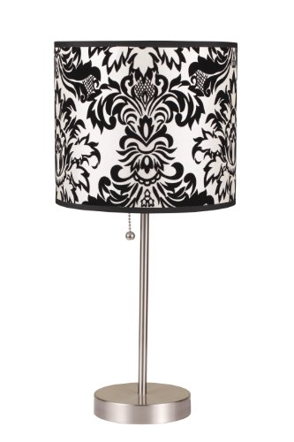 ORE International 8312B 19-Inch Brushed Steel Table Lamp with Damask Print Shade
