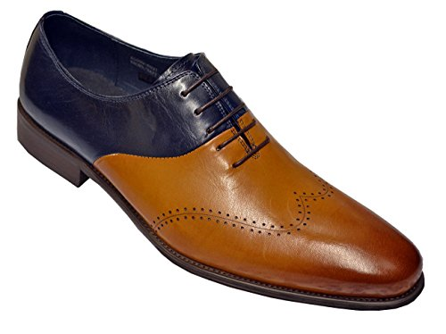 Carrucci Men's Navy/Brown Genuine Polished Calfskin Leather Italian Design Italy Wingtip Oxford Dress Shoes KS099-603T, Navy/Brown, 12 Italy Calf Mens Dress Shoes