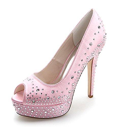 L@YC Mujeres Tacones altos Primavera Verano OtoñO Invierno Y Noche Rhinestone Vestidos De Novia Zapatos De Noche Con 3128-17a Pink