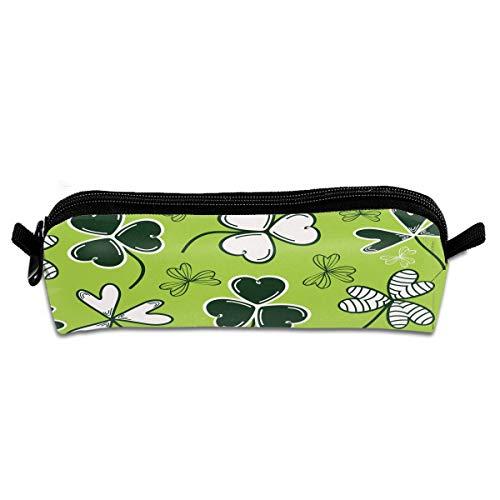 (Depaga Tile Weed Clover Leaf Pencil Pen Bag Case Holder Office Storage Organizer Pouch Makeup Bag for Women Men Student Girls Kids Teens)