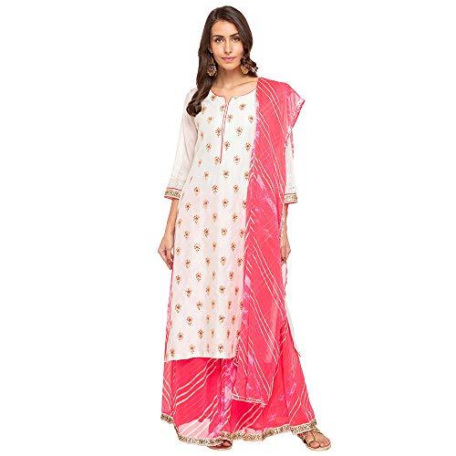 BIBA Women's Beige Viscose Salwar Kameez Dupatta Size 38