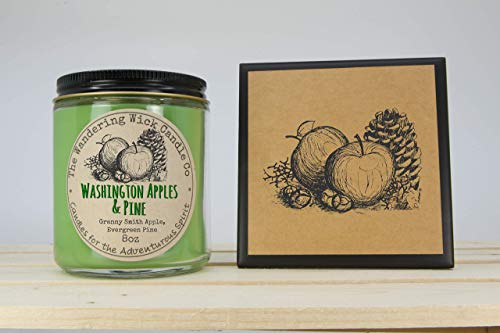 FREE Shipping - Washington State Granny Smith Apples & Evergreen Pine Scented Candle + Ceramic Coaster & Gift Card featuring my Original Artwork Drawings
