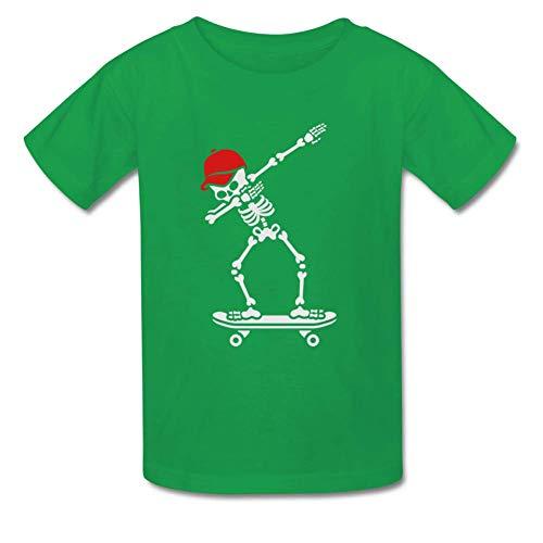 Bart Perkin Boys Girls Kids Dab Dabbing Skeleton Skateboard Skater O-Neck Tshirt L LightGreen