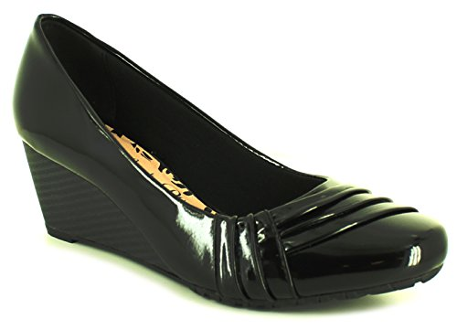 NUEVO mujer charol negro Comfort Plus zapatos con detalle de botón - Negro - GB Tallas 3-8