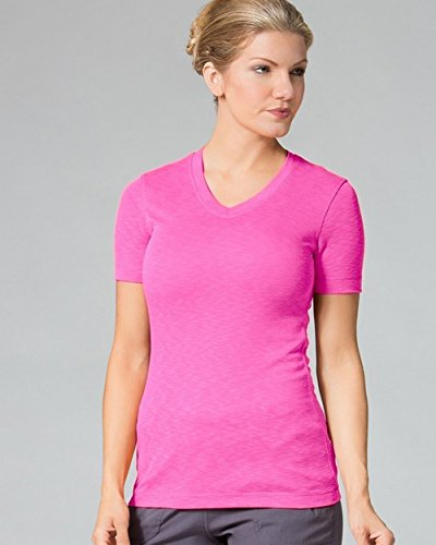 Maevn Uniforms Women's V-Neck Modal Knit Solid Scrub T-Shirt Medium Passion Pink ()