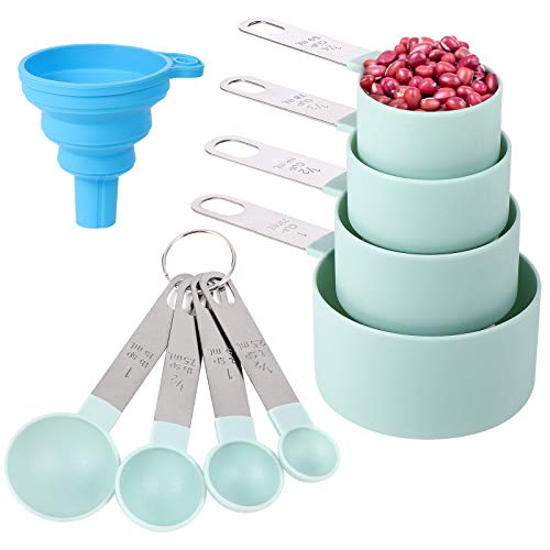 Measuring Cups and Spoons Set of 8 Pieces,Nesting Measure Cups with Stainless Steel Handle,for Dry and Liquid Ingredient…