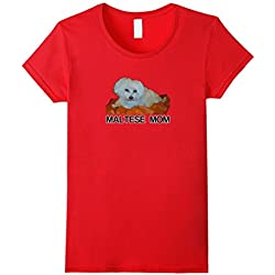 Womens Maltese Dog Mom Tshirt Dogs Painting Fans Mommy Pet Gift