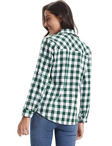 Classici Di Verde Donna Autunno Lunghe Boyfriend Casual Camicia bianco Quadri Maniche A Abollria Primavera Bluse Inverno Stile Flanella Per wTEYxwHCq