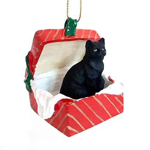 Conversation Concepts Black Shorthaired Tabby Cat Gift Box Red Ornament ()