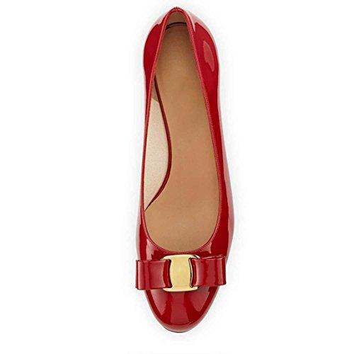 Arc-en-Ciel zapatos de cuero de patente de las mujeres del arco pisos de punta redonda Rojo