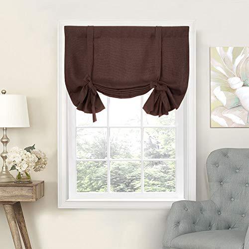 (Tie Up Valances for Kitchen Windows Vintage Linen Look Room Darkening Tie-up Valance Curtains Rod Pocket Adjustable Tie Up Shades for Windows (1 Panel,Brown,)