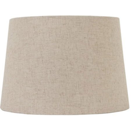 Better Homes and Gardens Linen Drum Shade, White, Off-White | Fits Directly on Lamp Base Beneath Light Bulb (Drum Garden)