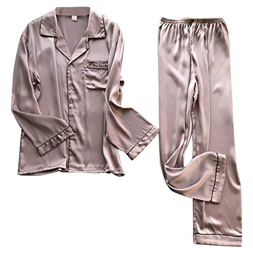 Halter Terry Shorts - CCOOfhhc Pajamas for Women Simulation Silk Long Sleeve Button Down Soft Sleepwear Plus Size 2 Piece Pink