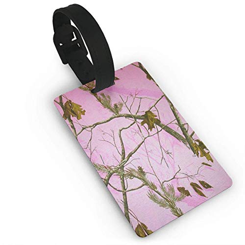 (Puyrtdfs Pink Realtree Camo Travel Luggage Tag Bag Baggage Travelling Suitcase Labels Name Address PVC Size 2.2'' X 3.7'')