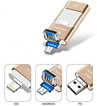 Kaulery Memoria USB para iPhone Android Pendrive 256GB Compatible con iOS iPad iPod Computadoras Laptops 3 en 1 Memoria Flash USB 3.0 (256GB): Amazon.es: Electrónica