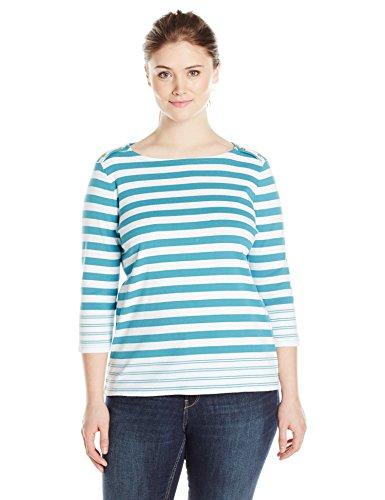 Pendleton Women's Plus-Size Corina Stripe Rib Tee, Larkspur/White, 1X