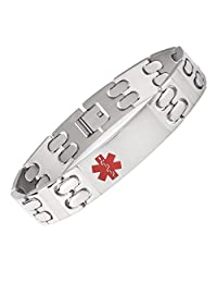 TARRING-Solid titanium Medical id Bracelets for Men with Free Engraving
