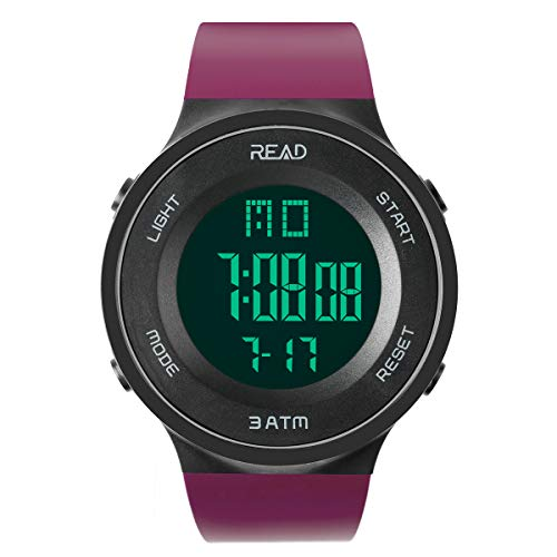Read Sports Digital Watch for Men Women, Outdoor Military Watches with Alarm, Stopwatch, Calendar, LED Display and Shockproof R90003 (Purple)...