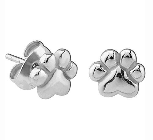 (Small Stainless Steel Paw Print Stud Earrings)
