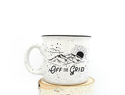 Camper Mug - Off the Grid - Speckled Color Mug - Campfire Collection - Screen Printed Mug ()