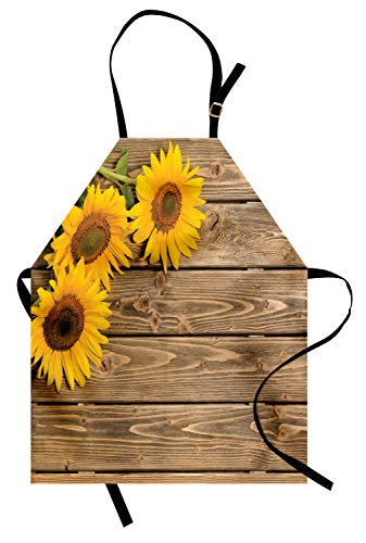 Apron Sunflower - Lunarable Sunflower Apron, 3 Sunflowers on Wooden Background at Top Left Corner Picture Print, Unisex Kitchen Bib Apron with Adjustable Neck for Cooking Baking Gardening, Yellow Umber