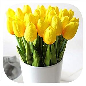 meiguiyuan 21pcs/lot PU Fake Artificial Flower Bouquet Real Touch Silk Tulip Flowers for Party Wedding Home Decoration Flower 115