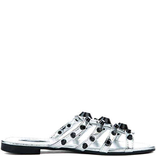 CAPE ROBBIN Women's Vintage Flat Studded Slipper Open Toe Slide Fashion Sandal (8, Silver) by CAPE ROBBIN (Image #3)