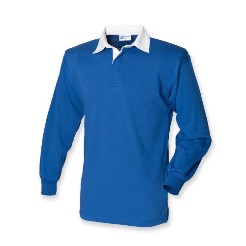 Front Row Long Sleeve Classic Rugby Shirt, 14 colours, Small t - Royal/White - L ()