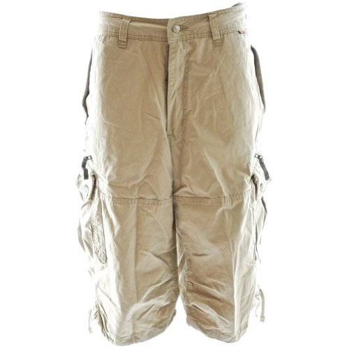 Mens Knee Hugger Cargo Shorts 45056 - 100% Cotton Premium Longer Durable Cargos, Small Desert Khaki Cream Khaki Cargo Cream