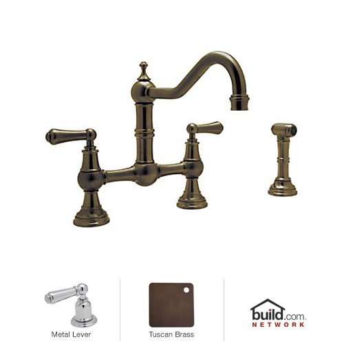 Rohl U.4756L Perrin and Rowe Bridge Kitchen Faucet with Side Spray and Metal Lever Handles, English Bronze