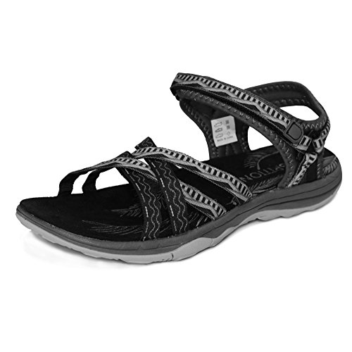 GRITION Frauen Wandern Sandalen, Damen Outdoor Sport Wasser Schuhe Sommer Flach Cross-Tied Beach Sandalen Open Toe Verstellbare Velcro Walking Schuhe Schwarz Pink Grey Sand Schwarz / Grau