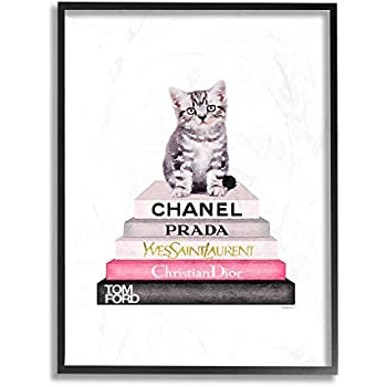 The Stupell Home Decor Grey Pink and Black Fashion Bookstack with Kitten Framed Giclee Texturized Art, 24 x 30, Multi-Color