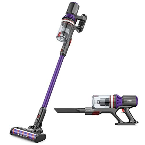 Dibea Cordless Vacuum Cleaner, 400W 25Kpa Stick Vacuum, 3 Gear Suction Adjustment, 55 Minutes Long Runtime Vacuum Cleaner with Upgraded V-Shaped Roller Brush for Deep Cleaning, Lightweight
